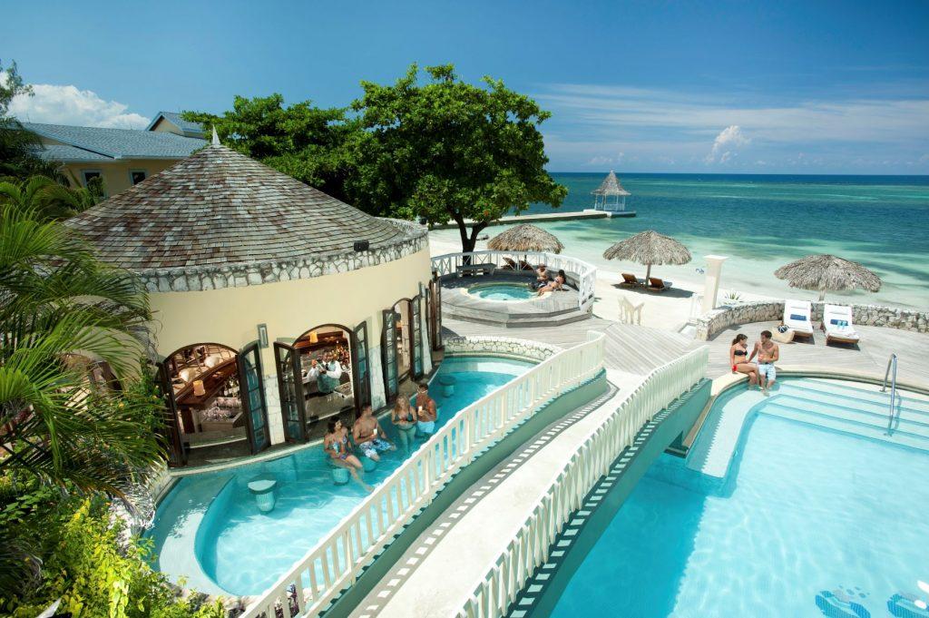 Sandals Montego Bay Pool Bar Aerial