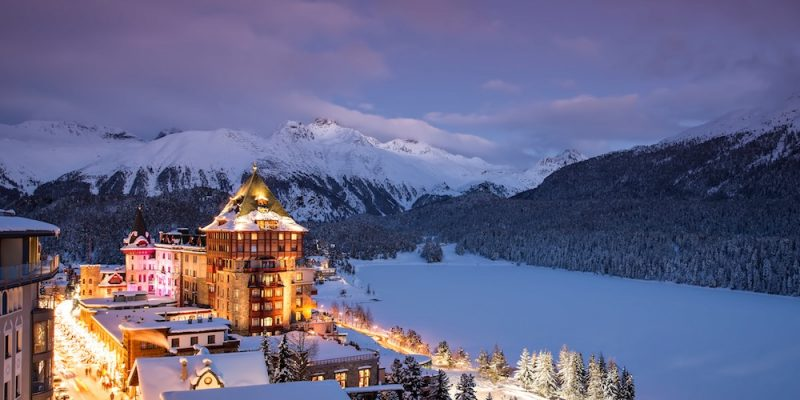 Badrutt's Palace St. Moritz Night Exterior